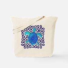Celtic Knot Turtle (Blue) Tote Bag