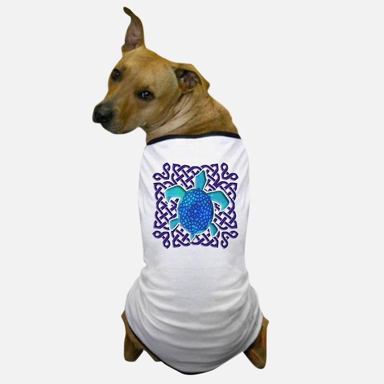 Celtic Knot Turtle (Blue) Dog T-Shirt