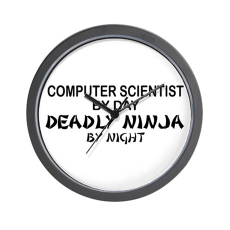 Computer Scientist Deadly Ninja by Night Wall Cloc