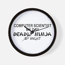 Computer Scientist Deadly Ninja by Night Wall Cloc