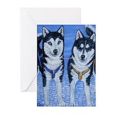Sled Dog Folk Art Greeting Cards (Pk of 10)