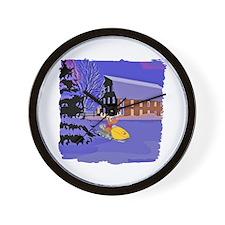 Scenic Snowmobile Christmas Wall Clock