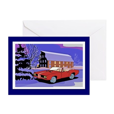 Scenery Muscle Car Christmas Greeting Cards (Pk of