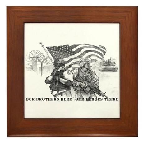 Heroes Black and White Prints Framed Tile