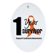 1Year-LeukemiaSurvivor Oval Ornament