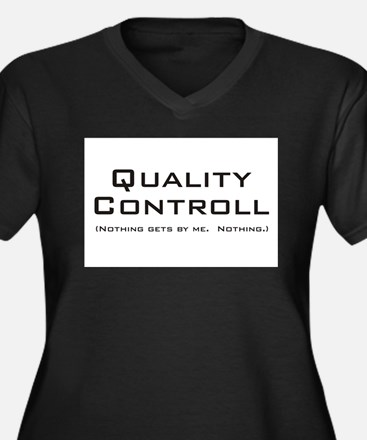 Q Controll Women's Plus Size V-Neck Dark T-Shirt