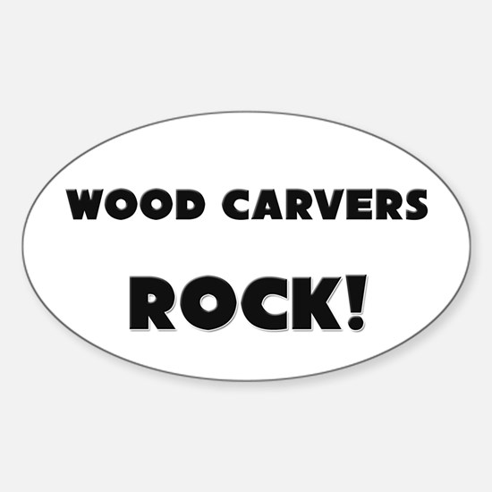 Wood Carvers ROCK Oval Decal