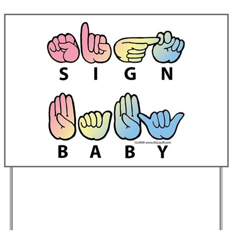Captioned SIGN BABY SQ Yard Sign