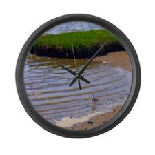 Seagull in Surf Large Wall Clock