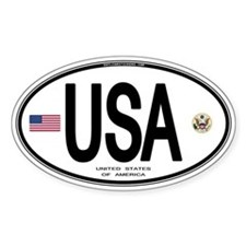 USA Euro-style Country Code Oval Sticker (10 pk)