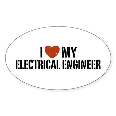 I Love My Electrical Engineer Oval Sticker