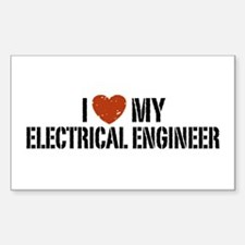 I Love My Electrical Engineer Rectangle Decal