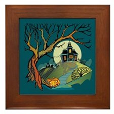 Spooky Haunted House Framed Tile