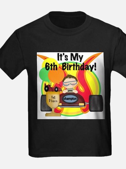 Race Car 6th Birthday Kids T-Shirt