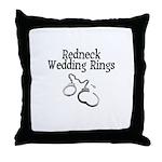 Redneck Wedding Rings Throw Pillow