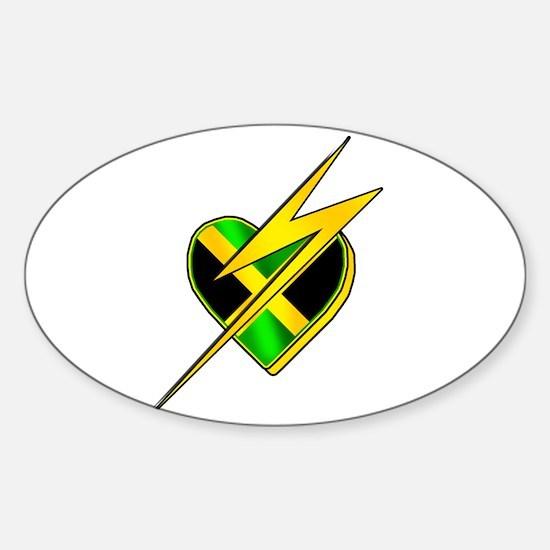Jamaica Lightning Bolt Sticker (Oval)