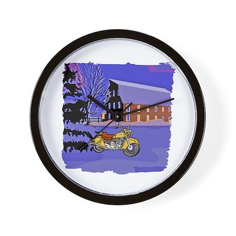 Scenic Motorcycle Christmas Wall Clock