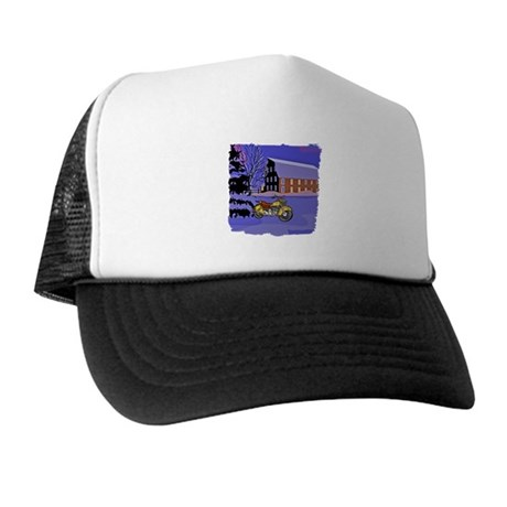 Scenic Motorcycle Christmas Trucker Hat
