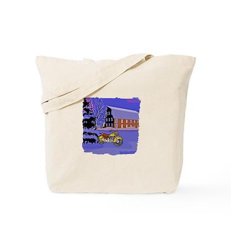Scenic Motorcycle Christmas Tote Bag