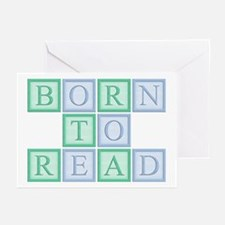 Born to Read Green Greeting Cards (Pk of 10)