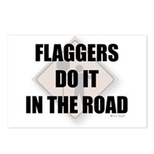 Flaggers do it in the road Postcards (Package of 8