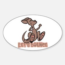 Let's Bounce Kangaroo Oval Stickers