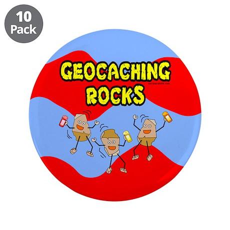 "Geocaching Rocks 3.5"" Button (10 pack)"