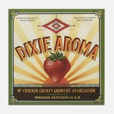 Dixie Strawberry Crate Label Art Tile Coaster