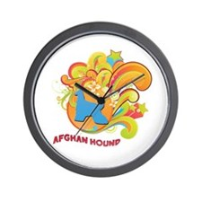 Groovy Afghan Hound Wall Clock