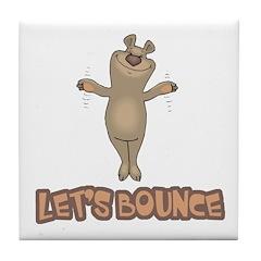 Let's Bounce Brown Bear Tile Coaster