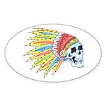 Indian Chief Skull Tattoo Oval Sticker (10 pk)