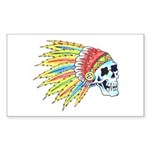 Indian Chief Skull Tattoo Rectangle Sticker