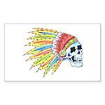 Indian Chief Skull Tattoo Rectangle Sticker 10 pk