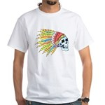 Indian Chief Skull Tattoo (Front) White T-Shirt