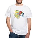 Indian Chief Skull Tattoo White T-Shirt