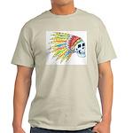 Indian Chief Skull Tattoo (Front) Light T-Shirt