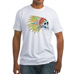 Indian Chief Skull Tattoo (Front) Fitted T-Shirt