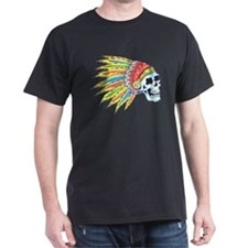 Indian Chief Skull Tattoo (Front) T-Shirt
