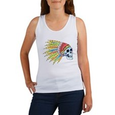 Indian Chief Skull Tattoo (Front) Women's Tank Top