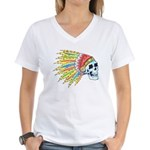 Indian Chief Skull Tattoo (Front) Women's V-Neck T