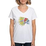 Indian Chief Skull Tattoo Women's V-Neck T-Shirt