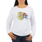 Indian Chief Skull Tattoo (Front) Women's Long Sle