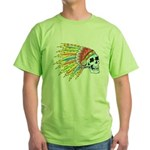 Indian Chief Skull Tattoo (Front) Green T-Shirt