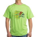 Indian Chief Skull Tattoo Green T-Shirt