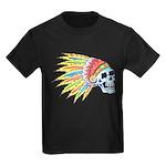 Indian Chief Skull Tattoo (Front) Kids Dark T-Shir