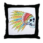 Indian Chief Skull Tattoo Throw Pillow