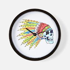 Indian Chief Skull Tattoo Wall Clock
