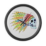 Indian Chief Skull Tattoo Large Wall Clock