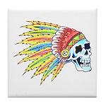 Indian Chief Skull Tattoo Tile Coaster