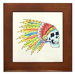 Indian Chief Skull Tattoo Framed Tile